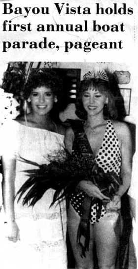 Miss Bayou Vista of 1985 Leanne Fridge on the right.